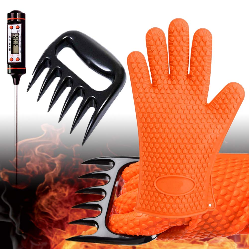 GlovesApparel BBQ-Grill-Gloves Cooking Heat Resistant Silicone Gloves with Meat Claws and Instant Read Digital Thermometer Smoker Accesories (3pcs Set) by GlovesApparel