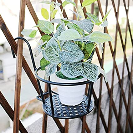 balc/ón Cesta colgante de hierro de Stand para jard/ín interiores y Escritorio de Fairy Pa/ís Maceta Estanter/ía Florero vidrio