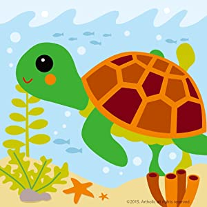 """Colour Talk DIY Oil Painting, Paint by Number Kits for Kids - Little Turtle 8""""X 8""""."""