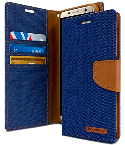 GOOSPERY Galaxy S8 Plus Case for Samsung Galaxy S8+, [Drop Protection] Canvas Diary [Denim Material] Wallet Case [ID Card/Cash Slot] Stand Flip Cover TPU Casing (Blue & Brown) S8P-CAN-BLU