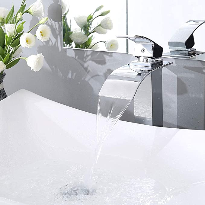Aquaterior Modern Waterfall Single Handle Bathroom Vessel Sink Faucet One Hole Tall Bath Faucet Chrome Cupc Nsf
