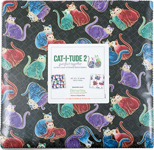 Ann Lauer Cat-I-Tude 2 Purrfect Together 10X10 Pack 42 10-inch Squares Layer Cake Benartex
