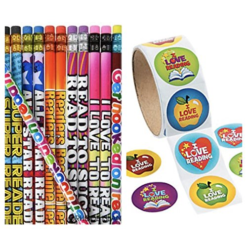 Love Assortment (144 READING PENCILS & 400 Colorful I Love to READ - STICKERS Motivational - GREAT Reader Student #2 Lead - I LOVE to READ - PARTY FAVORS - CLASSROOM Rewards TEACHER Motivation)