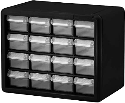 Akro-Mils 10144 D 20-Inch by 16-Inch by 6-1//2-Inch Hardware and Craft Cabinet Black