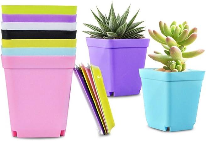 New 3 Size Multicolor Plastic Garden Outdoor Square Plant Holder Flower Pot Set