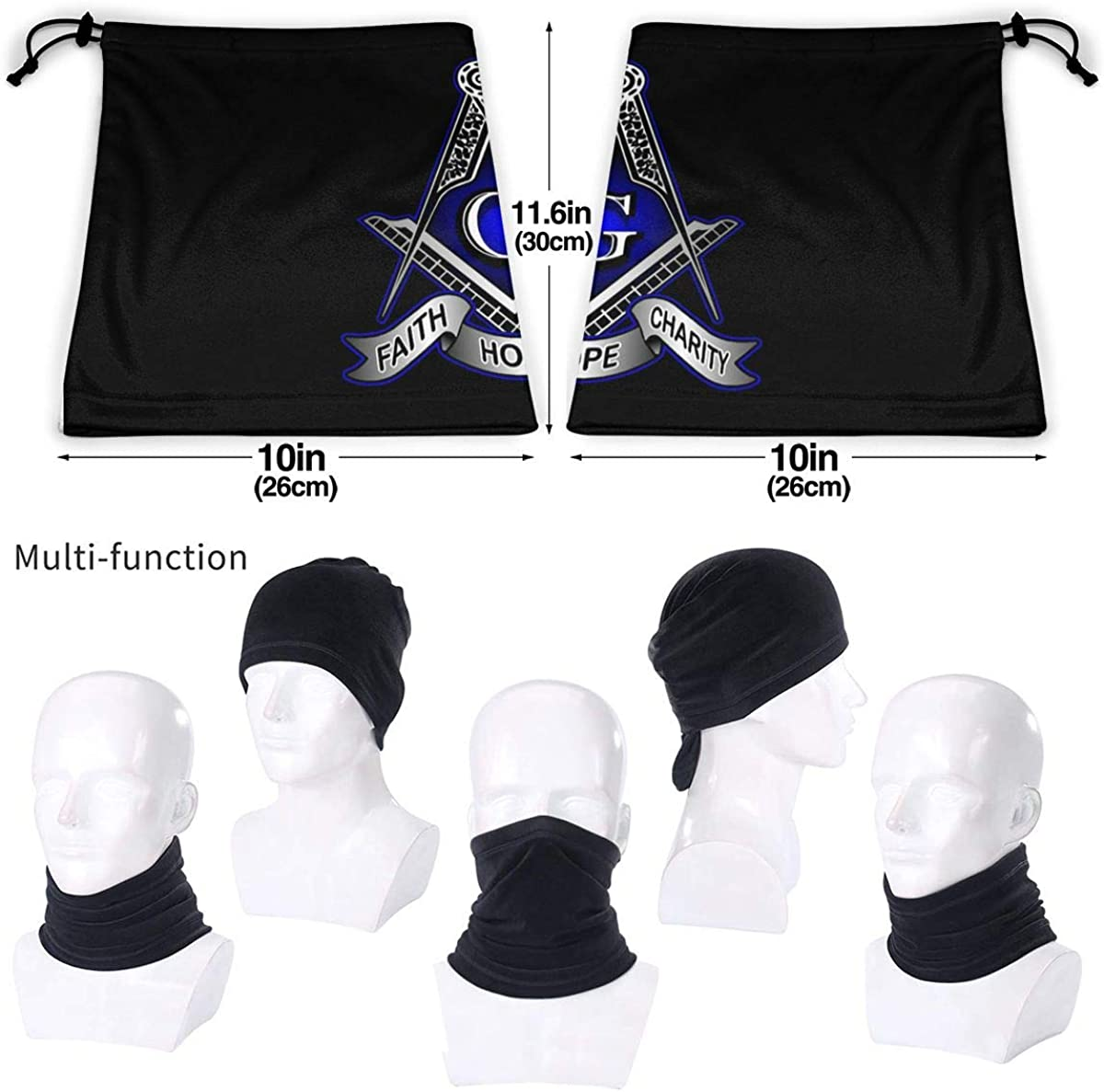 Freemason Bandanas for Men Face Scarf for Dust Outdoors Sports Warm Neck Gaiter