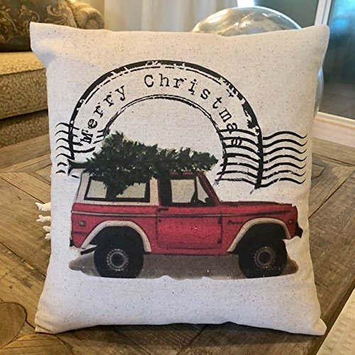 Bronco Vintage Jeep Truck Christmas Pillow 12x12 inches ()