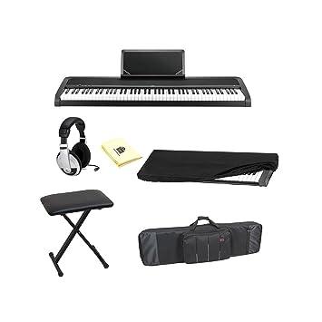 Korg b1bk 88-Key Piano Digital con mejorado sistema de altavoces en color negro con bolsa de auriculares estéreo, teclado, teclado banco, el polvo y gamuza: ...