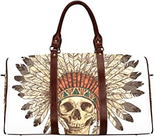 Light Duffel Bag Human Skull With Sunglasses Waterproof Microfiber Leather Carryon Bag Weekender Duffle Bag For Women Tote Bag For Women Traveling Accessories Bag Travel For Bags