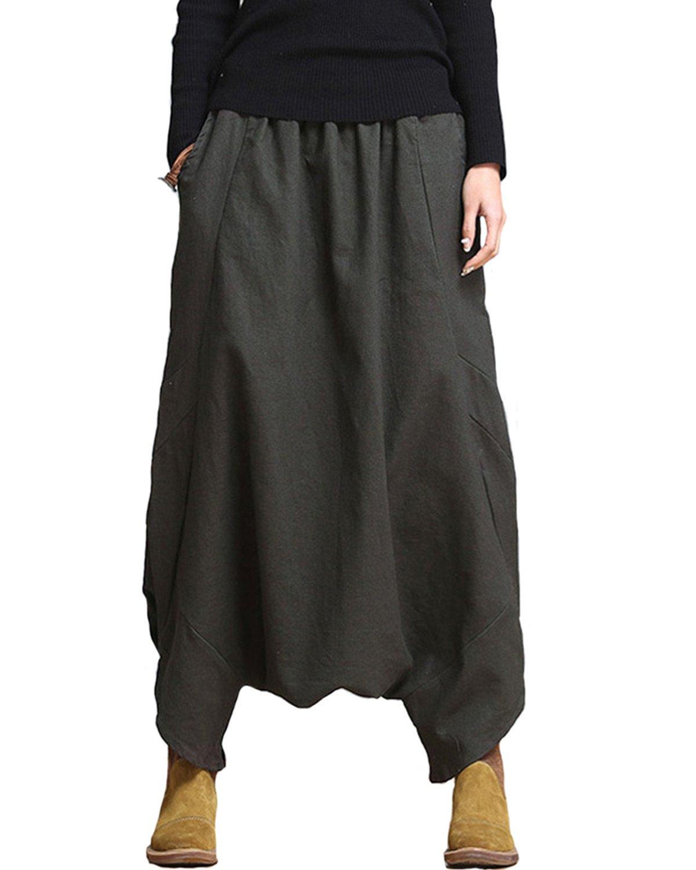 Aeneontrue Women's Green Cotton Linen Harem Pants with Elastic Waist Trousers