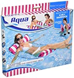 "Aqua 4-in-1 Monterey Hammock Multi-Purpose Inflatable Portable Pool Float, Pink Stripe, 10.25"" x 11.5"" x 1.5"""