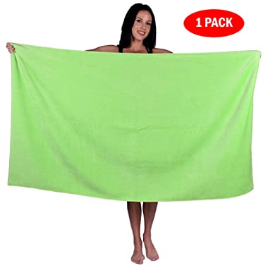 Turquoise Textile 100% Turkish Cotton Eco-Friendly Oversize Solid Pool Beach Towel, 35x60 Inch (1 Pack, Lime Green)