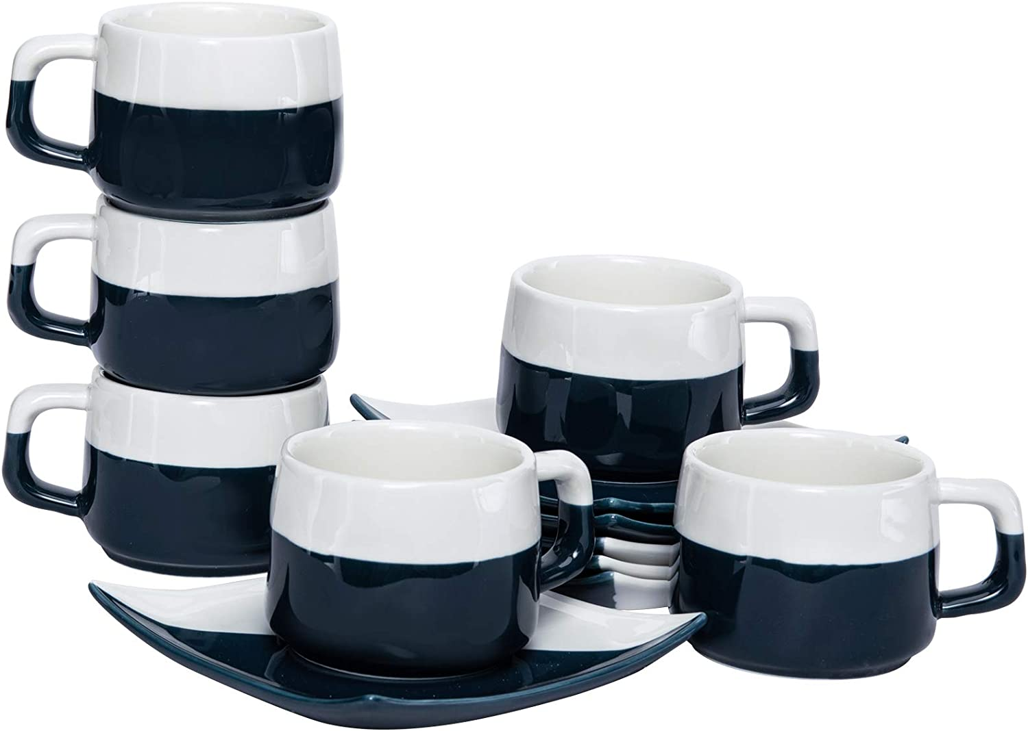 Hompiks Espresso Cups with Saucers Porcelain Tea Cup and Saucer Set, 5 oz for Coffee Cappuccino Latte and Tea Set of 6 Dark Blue