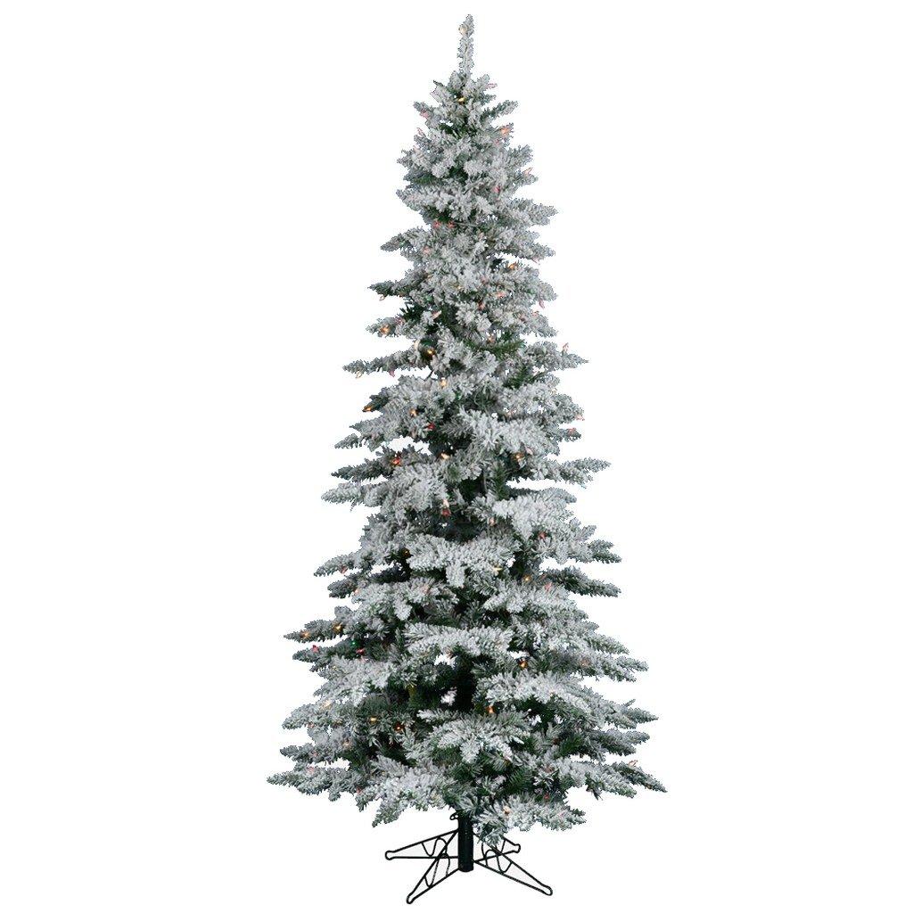 Vickerman Flocked Slim Utica Tree with 300 LED Light, 6.5-Feet by 39-Inch, Multicolored
