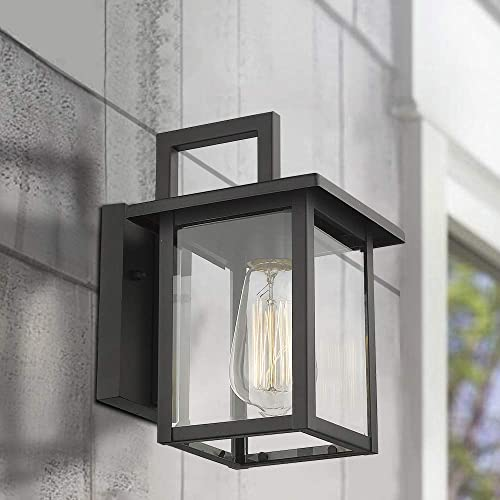 Emliviar Outdoor Wall Light, 1-Light Wall Sconce, Black Finish with Clear Glass, 20064B1