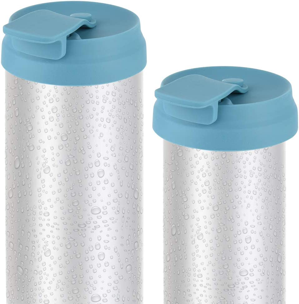 CM Silicone Slim Can Lids Beverage Can Lid Cover Protector for Slim Can and Skinny Can Hard Seltzer, Soda, Beer, Energy Drinks, Juice (Dark Blue (2 Pcs))