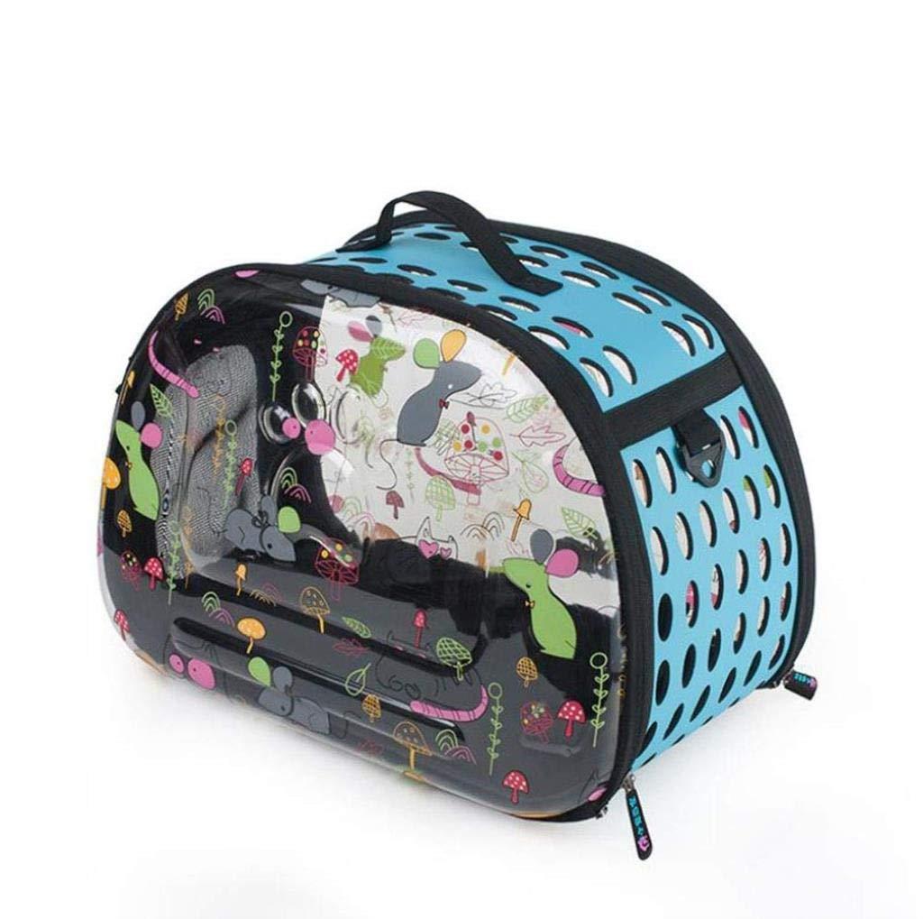 bluee Pet Bag Transparent Cat Dog Backpack Pet Supplies Pet Out Bag Portable Folding Pet Backpack 45 x 28 x 34CM ZXMDMZ (color   bluee)