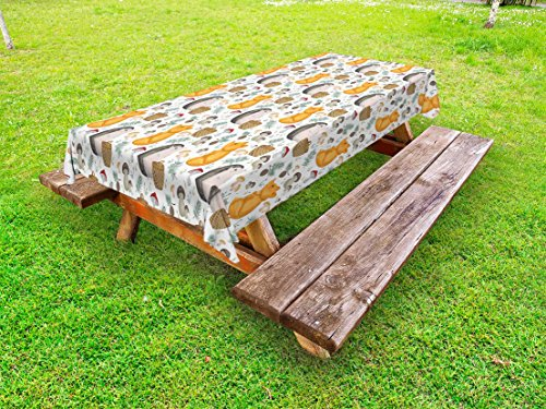 Ambesonne Hedgehog Outdoor Tablecloth, Pattern with Hedgehog Fox Basket Mushrooms Cones and Spruce Life in The Woods, Decorative Washable Picnic Table Cloth, 58 X 104 inches, Multicolor by Ambesonne (Image #2)