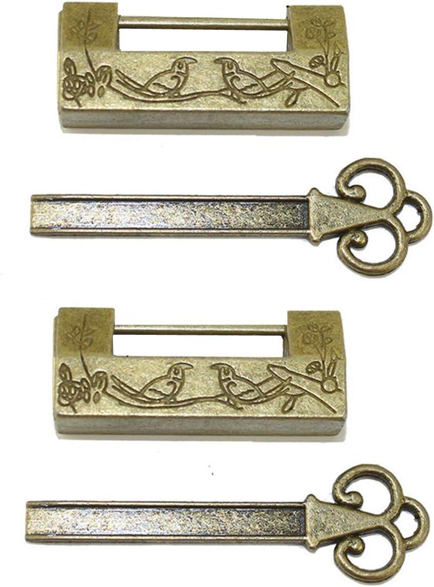 2 juegos de candados retro vintage antiguo chino con cerradura de pájaro con llave para gabinete joyero cajón maleta