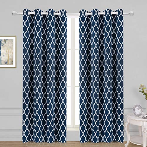 WONTEX Lattice Printed Thermal Insulated Blackout Curtains, Grommet Room Darkening Curtains for Living Room and Bedroom, Set of 2 Curtain Panels, 52 x 84 inch, Navy (Curtains Navy And Striped White)