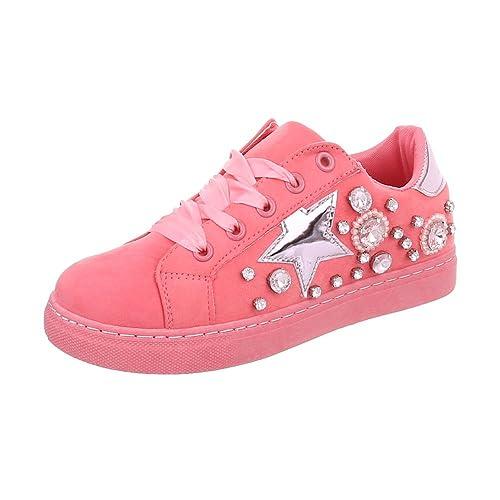 Scarpe da Donna Sneaker Piatto Sneakers Low Rosa Taglia 40 QF0Wtz