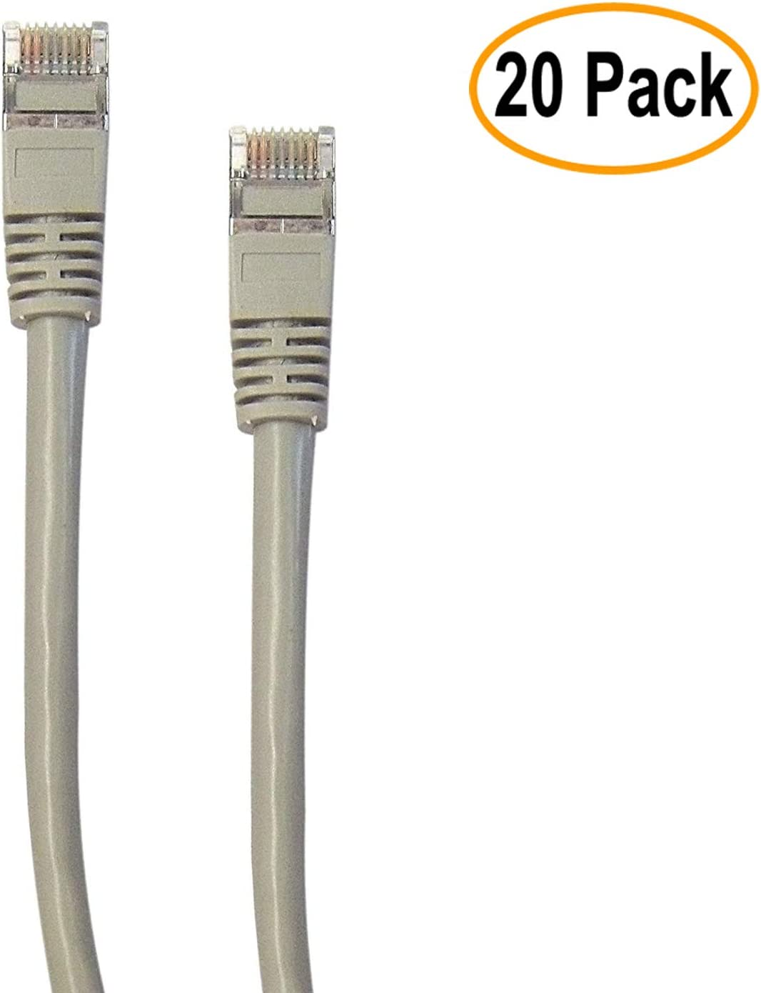 Gray, eDragon Shielded Cat5e Ethernet Cable with Snagless//Molded Boot, 1 Feet//0.3 Meters 20 Pack