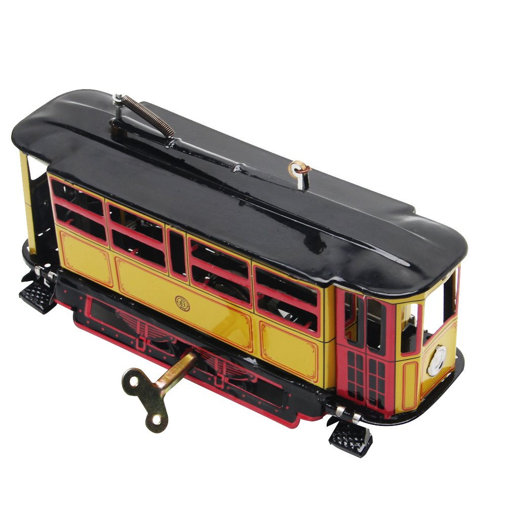 jigang Retro Wind Up Tram Cable Bus Clockwork Street Car Toy Kid Vintage Collection Gift