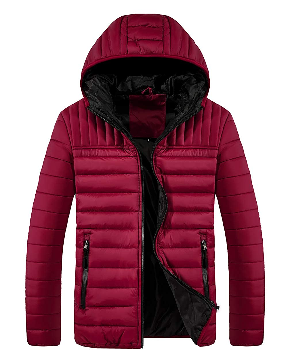 SCHONTAN Mens Lightweight Quilted Puffer Jacket with Hooded Outwear Down Coat