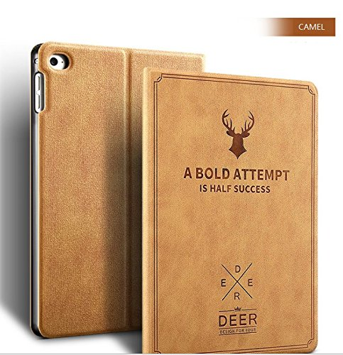 Apple New iPad 9.7 Case 2017 2018 A1822 A1823, Deer book Pattern Notebook style Light weight Design Smart shell auto sleep/wake with Stand folio PU Leather Hard Cover Case (New iPad 9.7, Camel) by LiViTech