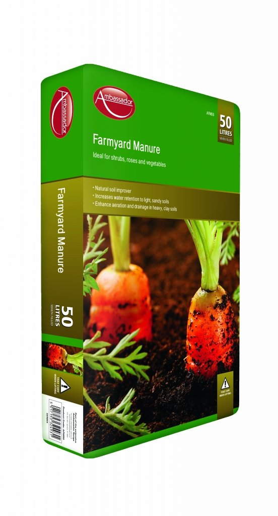 Ambassador Farmyard Manure 50 Litres Ideal For Shrubs, Roses & Vegetables