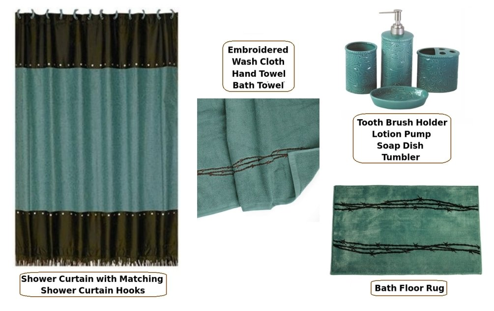 Country & Western Turquoise Shower Curtain & Bathroom Accessories 21 Piece Set