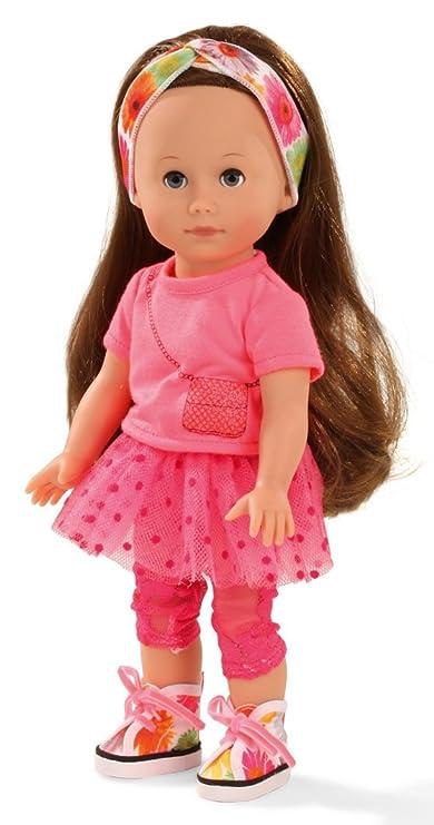 Götz 1513014 Just Like me - Chloe Puppe - 27 cm große Stehpuppe mit extra Langen braunen Haaren und blauen Schlafaugen - 7-te