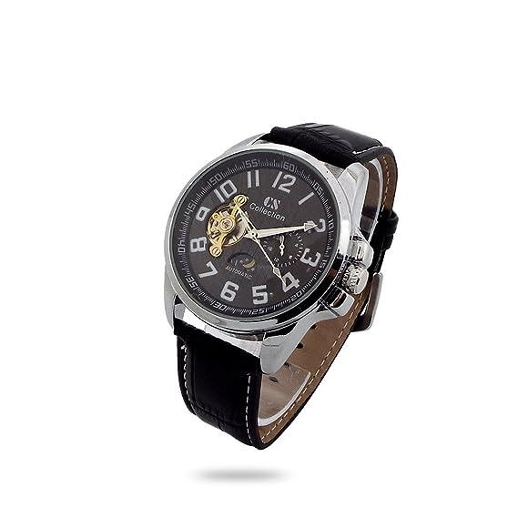 Reloj de pulsera hombre CS Collection caja metal Esfera Negro aro números correa piel Negro automático: Amazon.es: Relojes