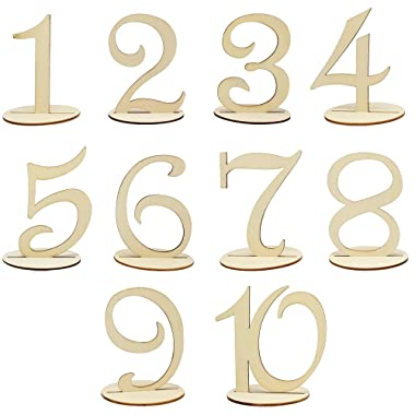 Meetory 1 to 10 Wooden Table Numbers with Holder Base,Wedding Birthday Party Table Decoration