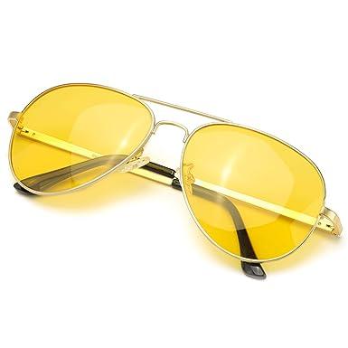 Gafas de Sol Polarizadas Aviador Lente HD Amarillas Gafas Conducir para Hombre y Mujer 100% UVA/UVB Protección