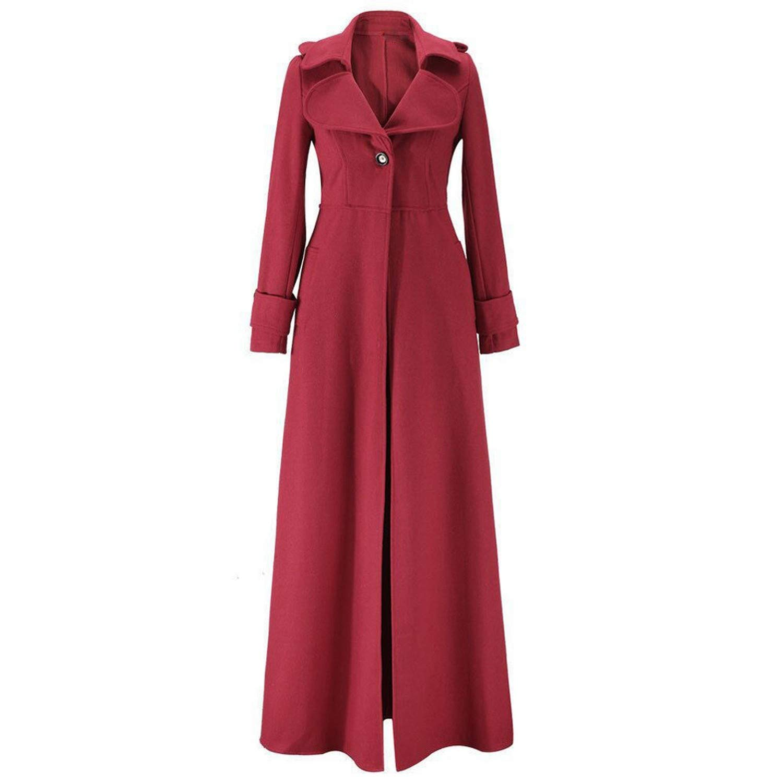 Woman Coats Winter Lapel Coat Trench Jacket Long Parka Overcoat Outwear Long Coat,Wine Red,XL,