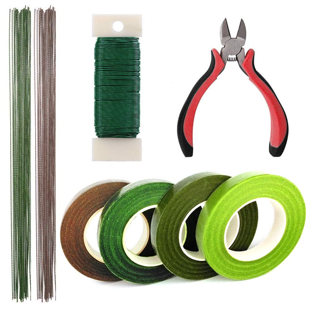 Floral Arrangement Kit Supplies, 4 Rolls Green Floral Tapes, 114 Feet 22 Gauge Wire and 26 Gauge Stem Wire,1 Pcs Floral Tools Wire Cutter for Floral Arranging Craft Projects Corsages Hamineler