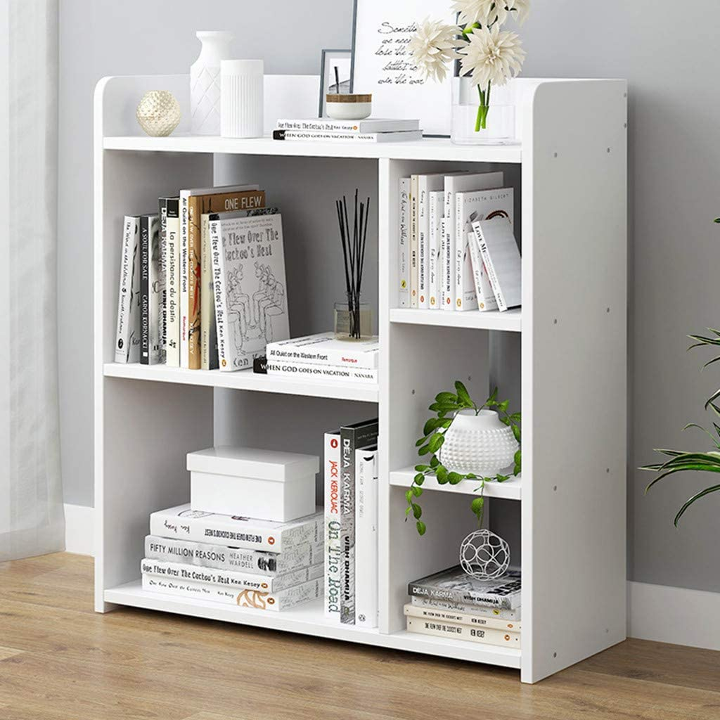 Bookshelf Simple Combination BookcaseHome Multi-Layer Floor Rack Shelves,  Bedroom Storage Shelf, Cube Shelf White (White)