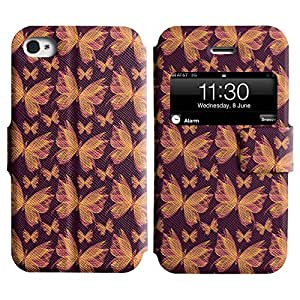 LEOCASE mariposa colorida Funda Carcasa Cuero Tapa Case Para Apple iPhone 4 / 4S No.1003723