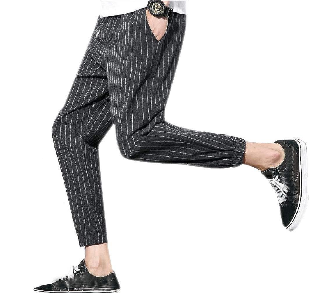 Men Fit All-Match Harem Striped Plus Size Vogue Casual Pants