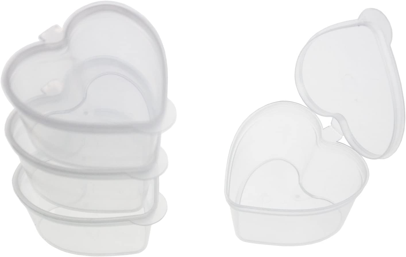 32 Pieces Heart Shaped Slime Storage Containers Transparent Plastic Box with Lids for 20g Slime