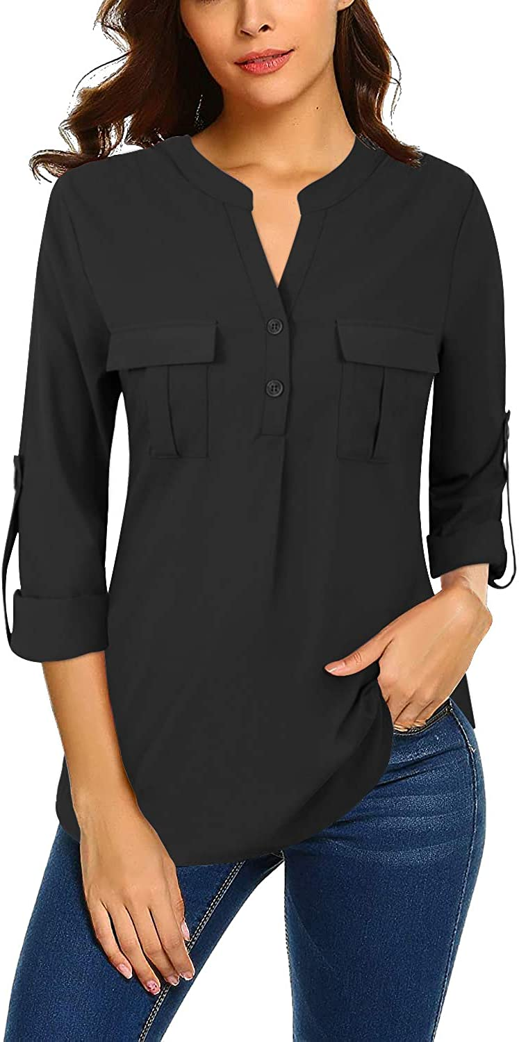 Bulotus Women's V Neck Chiffon Blouse Business Casual Button Down Shirts