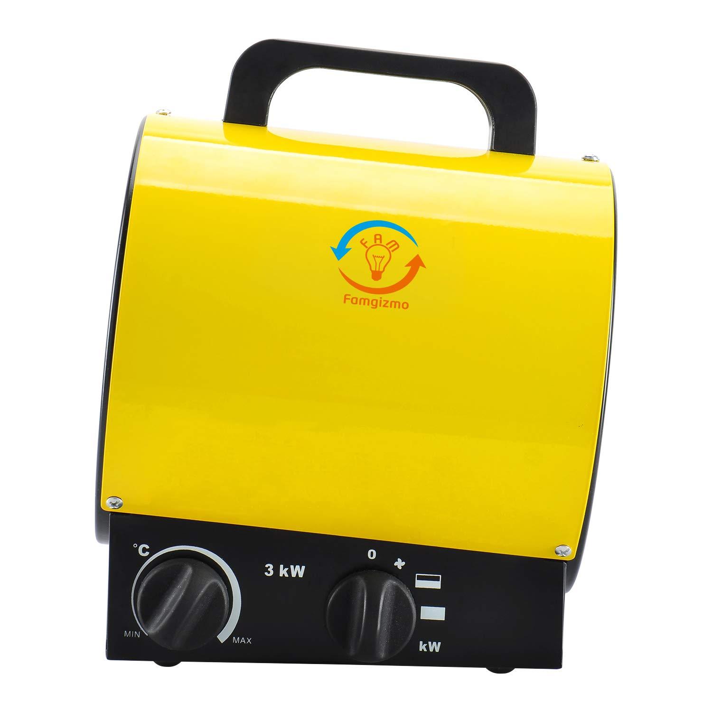 fam famgizmo 3000W Radiateur Soufflant Chauffage /électrique Industriel Autoportant /éTanche LUsine R/éChauffeur 3kW Jaune