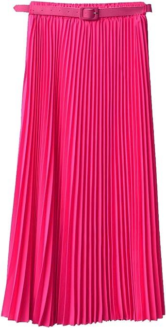 Falda larga para mujer, estilo retro, marca Norwaya Rosa hot pink ...