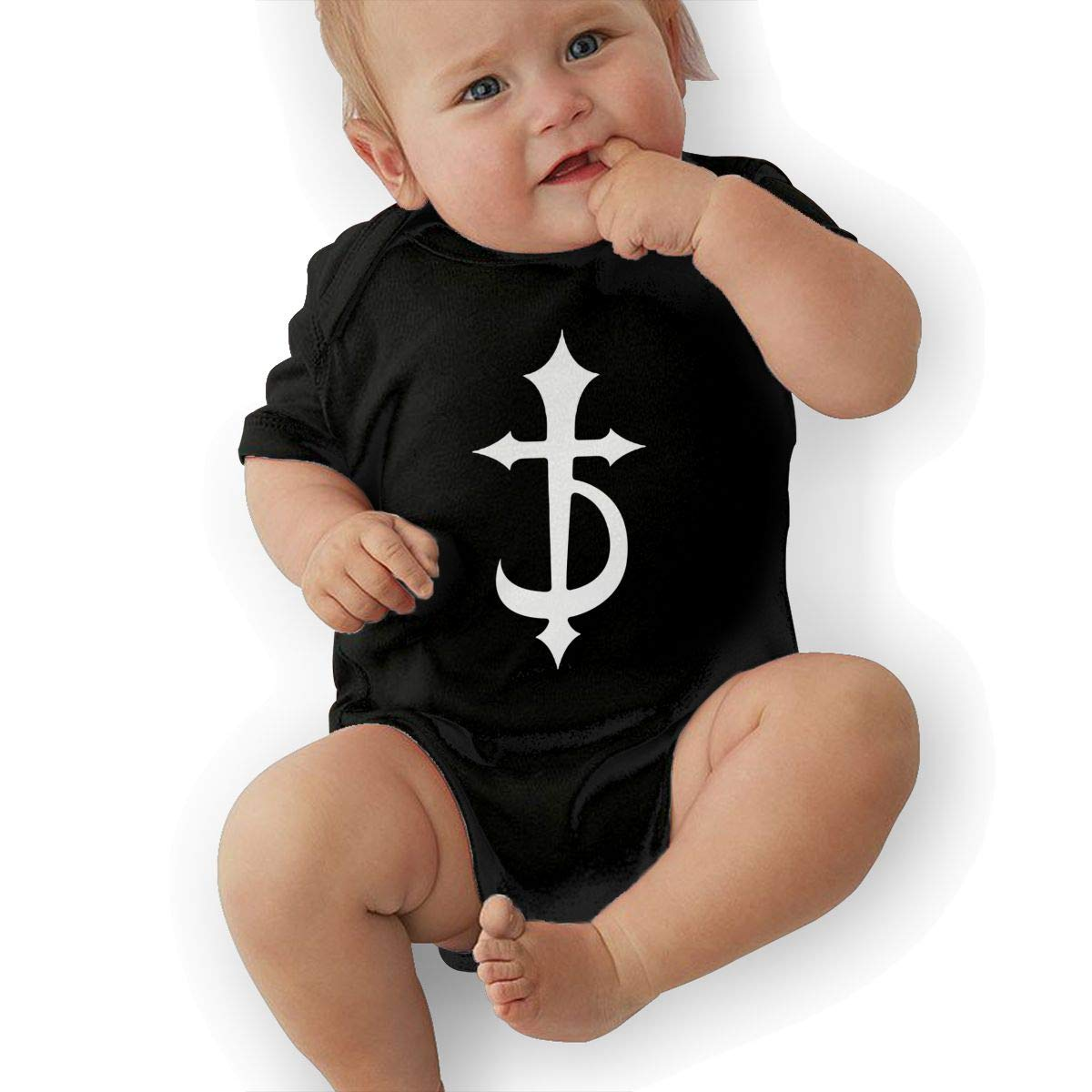 LuckyTagy DevilDriver Logo Unisex Fashion Newborn Baby Romper Baby GirlBodysuit Black