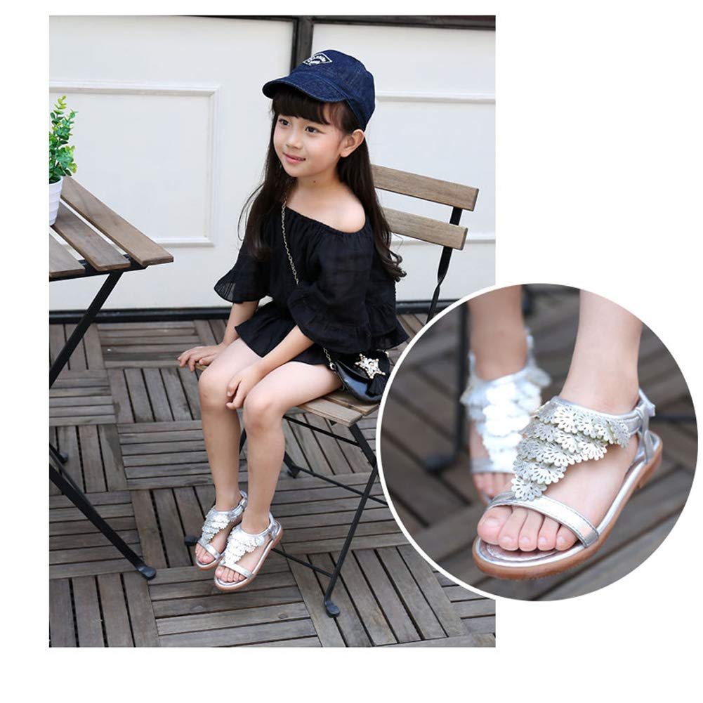 MUYGUAY Toddler Little Girls Sandals Open-Toe Adjustable Ankle Strap Baby Girls Summer Dress Shoes