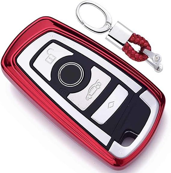 Imagen deRojo Funda de TPU Suave para Llave + Llavero para Coche BMW 1 3 4 5 6 7 Series BMW X3 X4 X5 X6 M3 M4 M5 M6 Remote Smart 3 4 Buttons