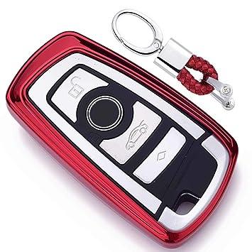 Rojo Funda de TPU Suave para Llave + Llavero para Coche BMW 1 3 4 5 6 7 Series BMW X3 X4 X5 X6 M3 M4 M5 M6 Remote Smart 3 4 Buttons