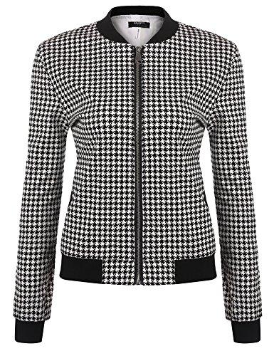 Zeagoo Women`s Long Sleeve Plaid Zipper Short Bomber Jacket Coat 61A7QSgrPeL