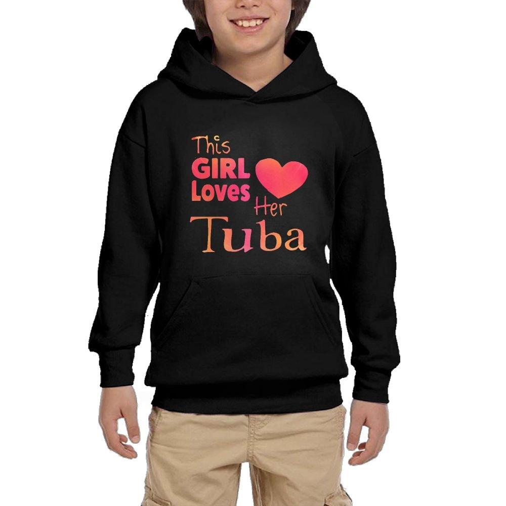 Hapli Youth Black Hoodie This Girl Loves Her Tuba Hoody Pullover Sweatshirt Pocket Pullover For Girls Boys S